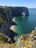 Scogliere della spiaggia della Francia Fotografie Stock