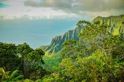Scogliere di pali del Na, Kauai, isole hawaiane Fotografie Stock Libere da Diritti
