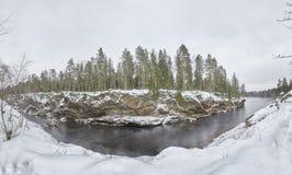 Scogliere e pini del canyon del fiume della Finlandia Imatra nell'inverno immagine stock