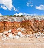 Scogliere stratificate a Hunstanton con i cieli Immagini Stock Libere da Diritti