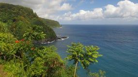 Scogliere verdi hawaiane Fotografia Stock