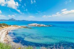 Scoglio di Peppino shoreline på en solig dag Royaltyfri Foto