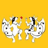 Scoiattolo, dancing tatuato con i maracas royalty illustrazione gratis