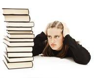 Scolara arrabbiata con le difficoltà di apprendimento Immagini Stock