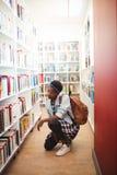 Scolara che seleziona libro a partire dallo scaffale di libro in biblioteca Immagini Stock Libere da Diritti