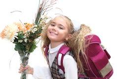Scolara con i fiori Fotografia Stock Libera da Diritti