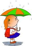 Scolara con l'ombrello Immagine Stock Libera da Diritti