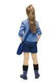 Scolara dell'uniforme nella vista laterale indietro Parte della ragazza della scuola, sguardo fotografie stock