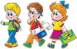 Scolara e scolari illustrazione di stock