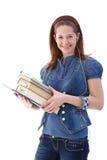 Scolara felice con i libri Fotografia Stock