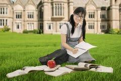 Scolara graziosa che studia sull'erba Immagini Stock