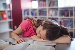Scolara stanca che dorme mentre studiando nella biblioteca Fotografie Stock
