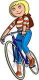 Scolara sulla bici Immagini Stock