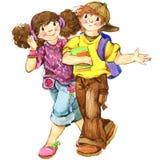 Scolari e di nuovo al fondo della scuola per l'illustrazione dell'acquerello di celebrazione royalty illustrazione gratis