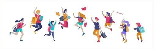 Scolari felici allegro che saltano e che ridono isolati su fondo bianco Concetto di felicit?, di letizia e di divertimento illustrazione vettoriale
