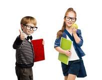Scolari, gruppo di ragazzo e bambini della ragazza in vetri fotografia stock libera da diritti