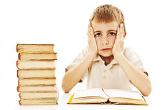 Scolaro arrabbiato con le difficoltà di apprendimento Immagini Stock Libere da Diritti