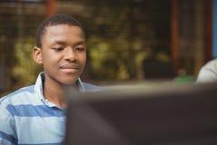 Scolaro che studia nell'aula del computer Immagine Stock