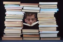 Scolaro con i vetri ed i libri Immagine Stock Libera da Diritti