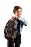 Scolaro con il sacchetto Fotografie Stock