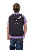 Scolaro con il sacchetto isolato Fotografie Stock