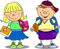 Scolaro e scolara svegli Fotografia Stock