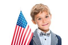 Scolaro felice con la bandiera degli S.U.A. Fotografie Stock Libere da Diritti
