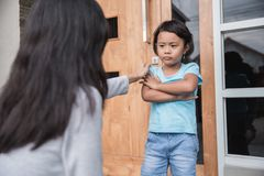 Scolding her daughter for bad behavior royalty free stock photography