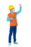 Scolding little construction worker Stock Images