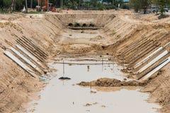 Scoli della costruzione per evitare l'inondazione Fotografia Stock