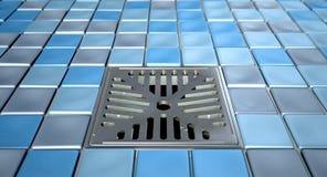 Scolo e mosaici di pavimento della doccia Fotografie Stock