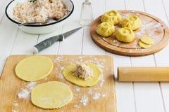 Scolpisca il concetto russo di kurniki delle torte fotografia stock