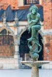 Scolpisca la povera fontana dello studente di Jacques nel centro di Cracovia, Fotografia Stock