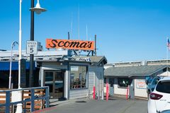 Scoma`s Restaurant of San Francisco. San Francisco, CA - February 03: World famous restaurant Scoma`s in San Francisco`s Fisherman`s Wharf Stock Photography