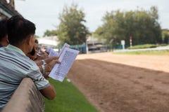 Scommessa del gioco di corsa di cavalli Immagini Stock Libere da Diritti