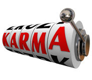Scommessa di destino di buona fortuna di Karma Word Slot Wheels Destiny Immagini Stock Libere da Diritti