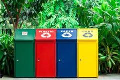 Scomparti di riciclaggio variopinti Fotografia Stock Libera da Diritti