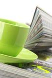 Scomparti e tazza di caffè Fotografia Stock