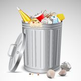 Scomparto di rifiuti in pieno di immondizia Fotografie Stock