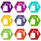 Sconce icons set 9 vector. Sconce icons 9 set coloful isolated on white for web Stock Photo