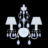 Sconces with crystal pendants on black Royalty Free Stock Images
