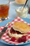 Scone with clotted cream and jam. Freshly baked scones with clotted cream and raspberry jam Royalty Free Stock Images