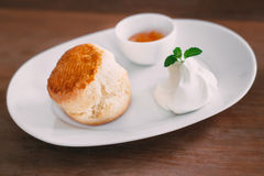 Scone with clotted cream and jam. A delicious scone with clotted cream and jam on white plate Stock Photo