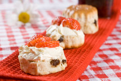 Scone halves with strawberries and clotted cream Royalty Free Stock Photography