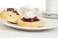 Scone with jam and cream Royalty Free Stock Photography