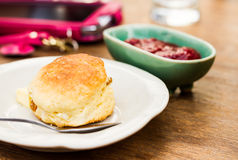 Scone and jam Royalty Free Stock Images
