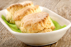 Scone served in a porcelain bowl Royalty Free Stock Photo