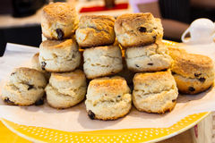 Scone. Stack scones on a yellow plate Stock Photography
