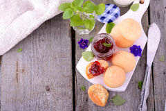Scone with strawberry jam, afternoon tea , Stock Photography