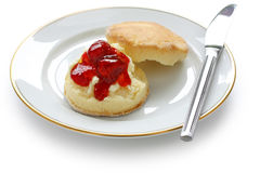 Scone,strawberry jam,clotted cream Stock Images